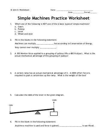 Simple Machines Worksheet Answers as Well as Name