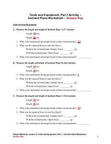 Simple Machines Worksheet Answers or Inclined Plane Wedge and Screw Worksheets