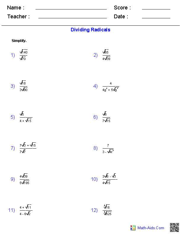 Simplifying Radicals Geometry Worksheet as Well as Dividing Radical Expressions Worksheets