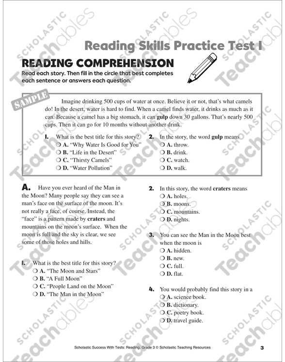 Skills Worksheet Reteaching Answers Lifetime Health with Reading Skills Practice Test 1 Grade 3