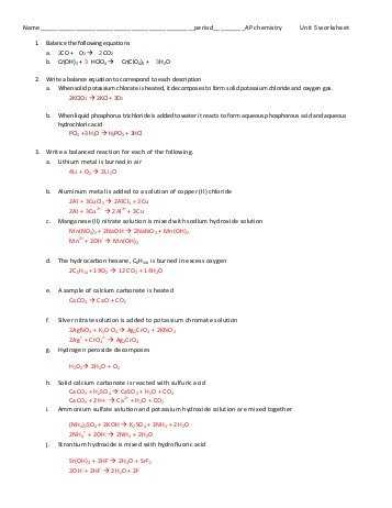 Solutions Worksheet Answers Chemistry Also Ap Unit 1 Worksheet Answers Jensen Chemistry