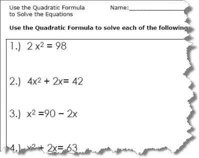 Solving Polynomial Equations Worksheet Answers Also Use the Quadratic formula to solve the Equations Quadratic formula