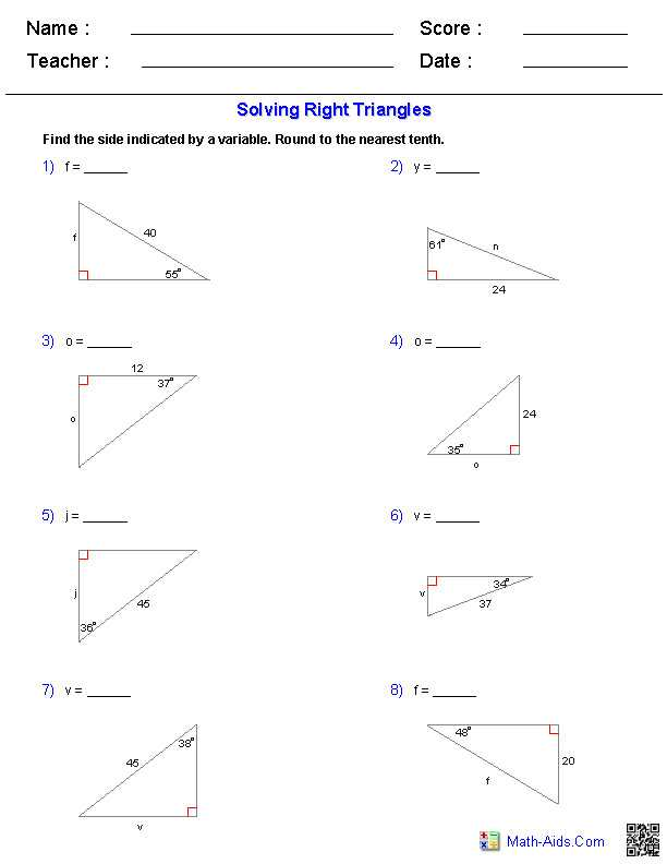 Solving Right Triangles Worksheet with solving Right Triangles Worksheet