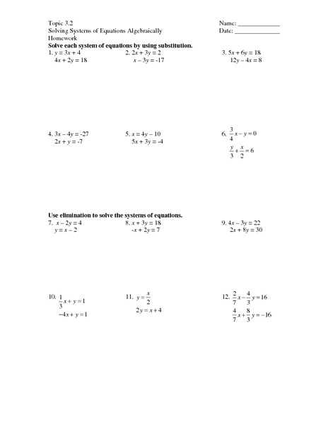 Solving Systems Of Linear Equations by Elimination Worksheet Answers with Lovely solving Systems Equations by Substitution Worksheet