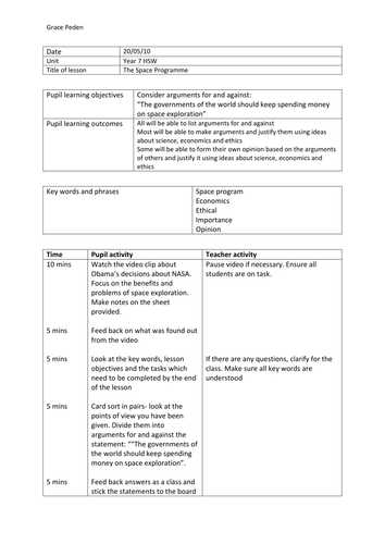 Space Exploration Worksheets for Middle School and the Space Debate by Grace Peden Teaching Resources Tes