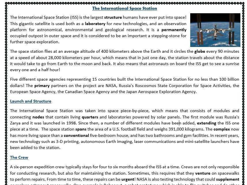 Space Exploration Worksheets for Middle School or Informational Texts Reading Prehension Worksheets Bundle