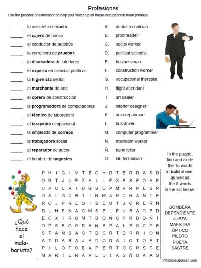 Spanish 1 Worksheets as Well as Printable Spanish Freebie Of the Day Profesiones 1 Puzzle Worksheet