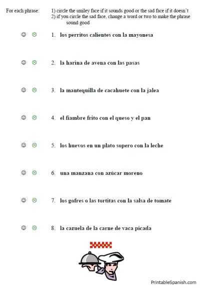 Spanish Conjugation Worksheets Also Free Printable Spanish Worksheet Packet On Food Vocabulary Lunch