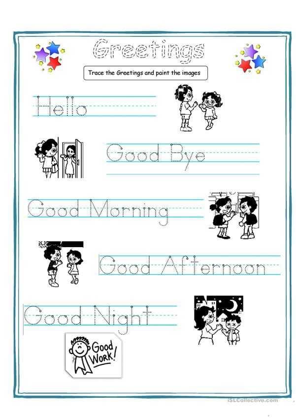 Spanish Greetings Worksheet Along with Greetings for Kids Worksheets Handouts Pinterest