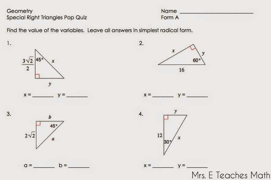 Special Right Triangles Worksheet Pdf Along with Special Triangles Worksheet