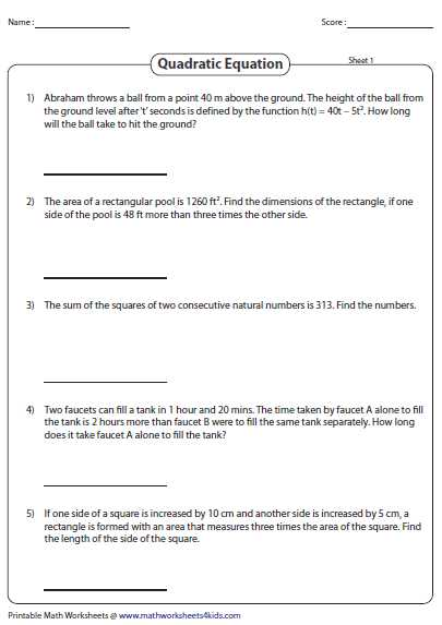Standard form Of A Linear Equation Worksheet with Word Problems Involving Quadratic Equations