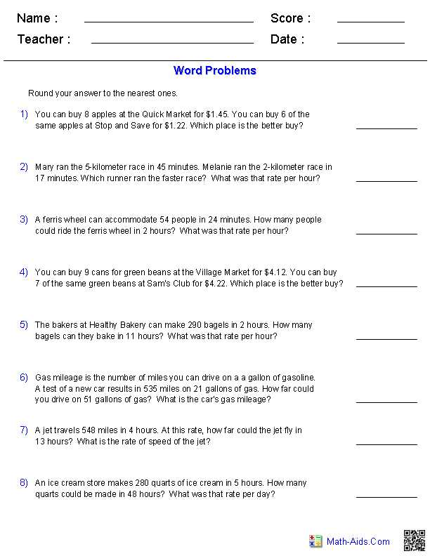 Step 8 Worksheet and Ratios Amd Rate Word Problems Worksheets Math Aids
