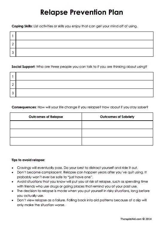 Substance Abuse Worksheets Pdf or 37 Best Relapse Prevention Images On Pinterest