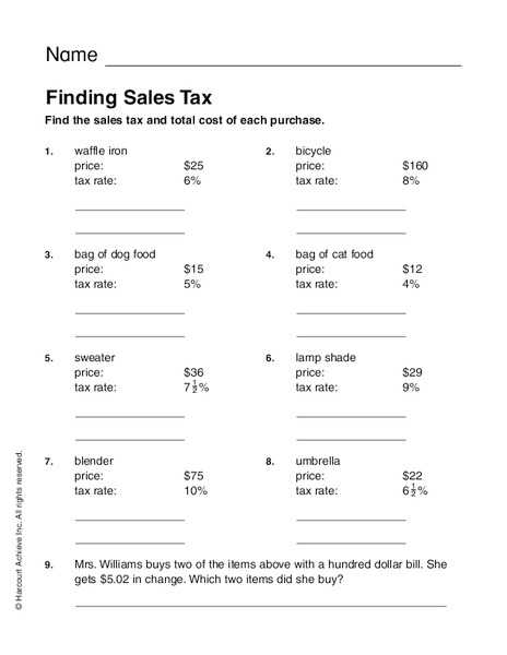 Taxation Worksheet Answer Key or Sales Tax Math Worksheets Worksheets for All
