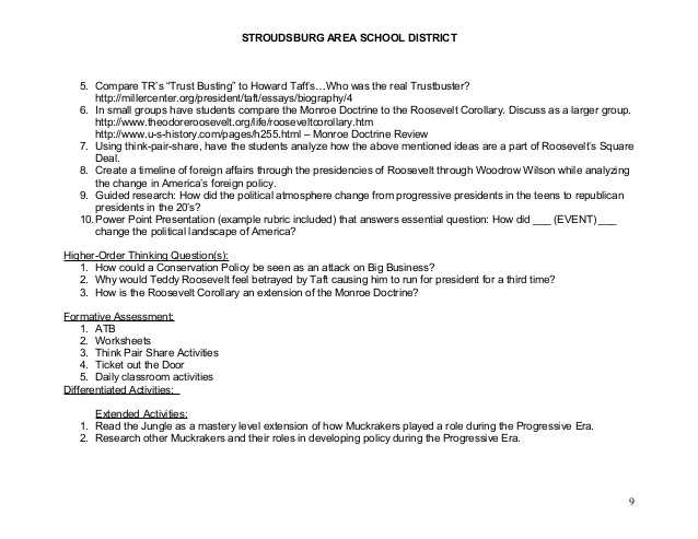 Teddy Roosevelt Square Deal Worksheet Also 20th Century Am History Cp