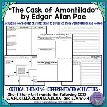 The Cask Of Amontillado Worksheet together with Edgar Allan Poe Unit Teaching Resources