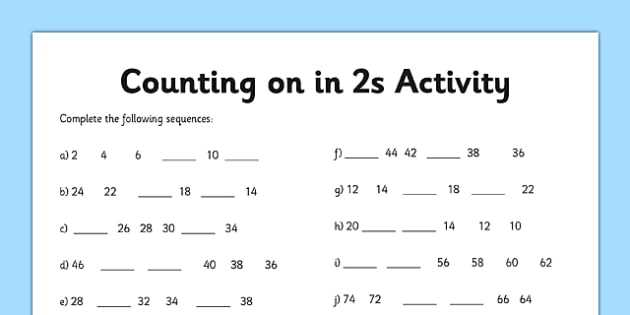 The Number System Worksheet Along with Counting In 2s Worksheet Counting Worksheet 2 Numbers Math