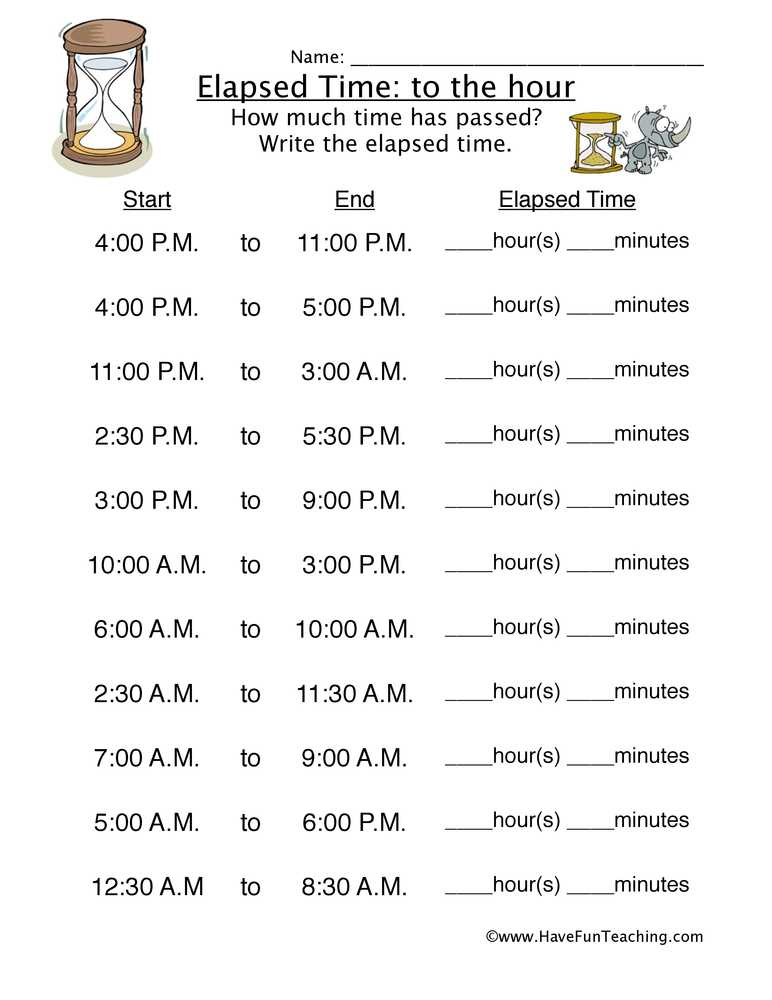 Time Worksheets Grade 3 Along with Worksheets for Elapsed Time to the Hour