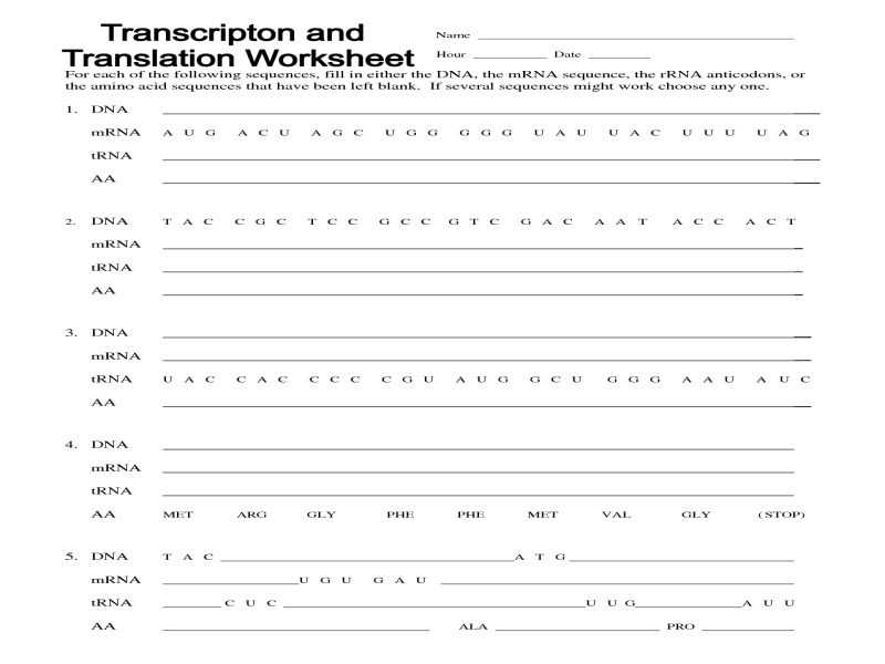 Transcription and Translation Worksheet Answers together with Transcription and Translation Worksheet Answers