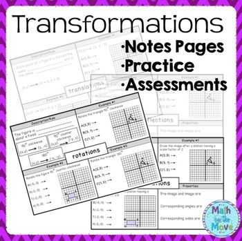 Transformations Review Worksheet Also Transformations Notes Practice and assessments
