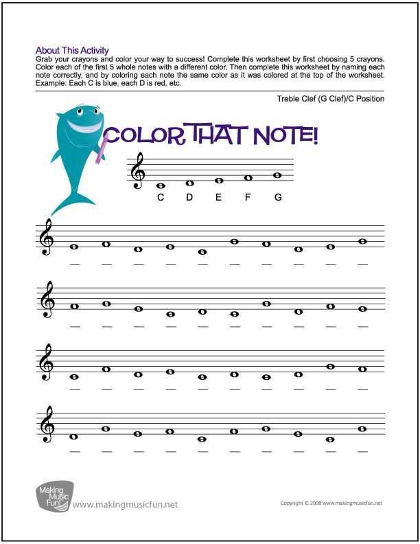 Treble Clef Worksheets or Color that Note Free Note Name Worksheet Treble Clef C Position
