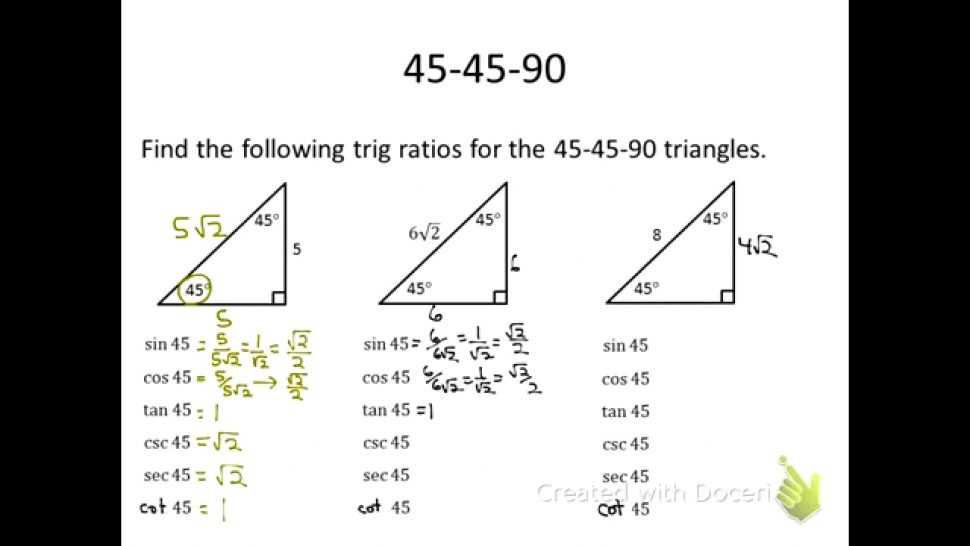 Trigonometry Ratios In Right Triangles Worksheet Also Special Triangles Worksheet