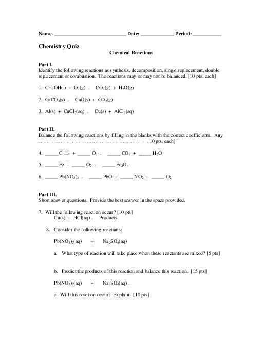 Types Of Chemical Reaction Worksheet Ch 7 and Students Identify the Four Different Types Of Chemical Reactions