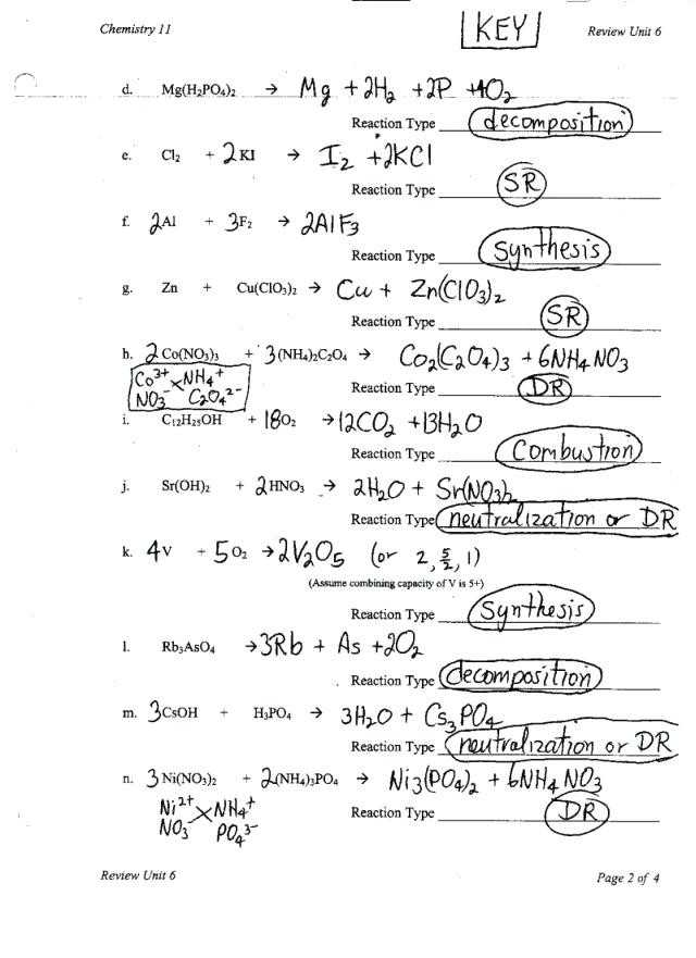 Types Of Chemical Reaction Worksheet Ch 7 Answers or Types Chemical Reactions Worksheet New Balancing Equations