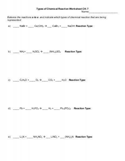 Types Of Reactions Worksheet Answer Key with Types Of Chemical Reaction Worksheet Ch 7 Name Balance the