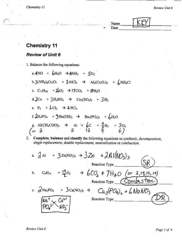 Types Of Reactions Worksheet then Balancing and Types Chemical Reactions Worksheet Inspirational Ws 4 6 Types