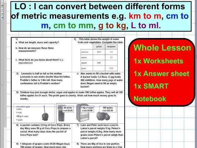 Using A Metric Ruler Worksheet and Convert Different forms Of Metric Units Mass Capacity Length