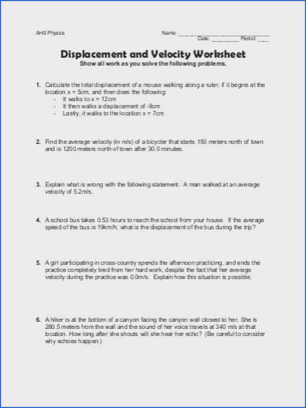 Velocity Acceleration Worksheets Answer Key and 24 Awesome Pics Distance and Displacement Worksheet Answer Key