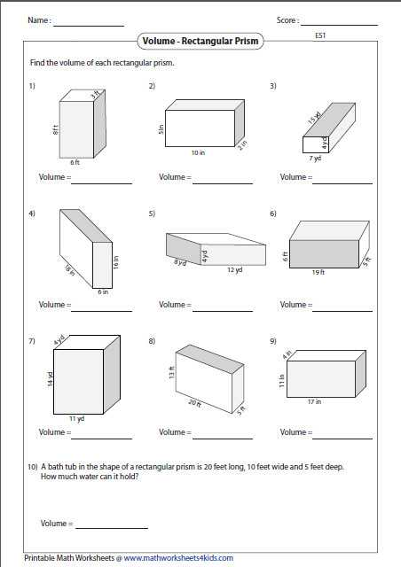 Volume Rectangular Prism Worksheet Answers as Well as Volume Cylinder Worksheet