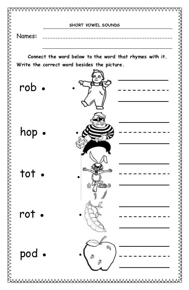 Words with the Same Vowel sound Worksheets together with Short Vowel sounds Worksheets