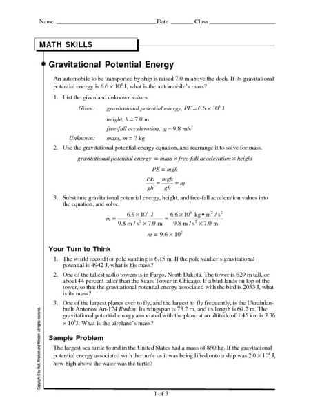 Worksheet Kinetic and Potential Energy Problems Answer Key with Worksheet Potential Energy Problems Energy Etfs