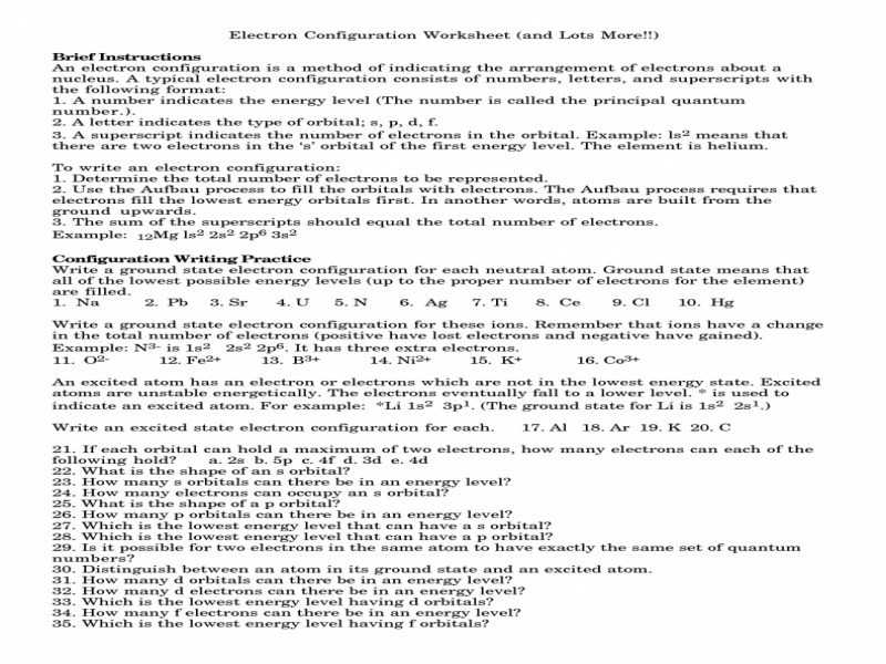 Writing Electron Configuration Worksheet Answers as Well as Electron Configuration Worksheet Answer Key Gallery Worksheet Math