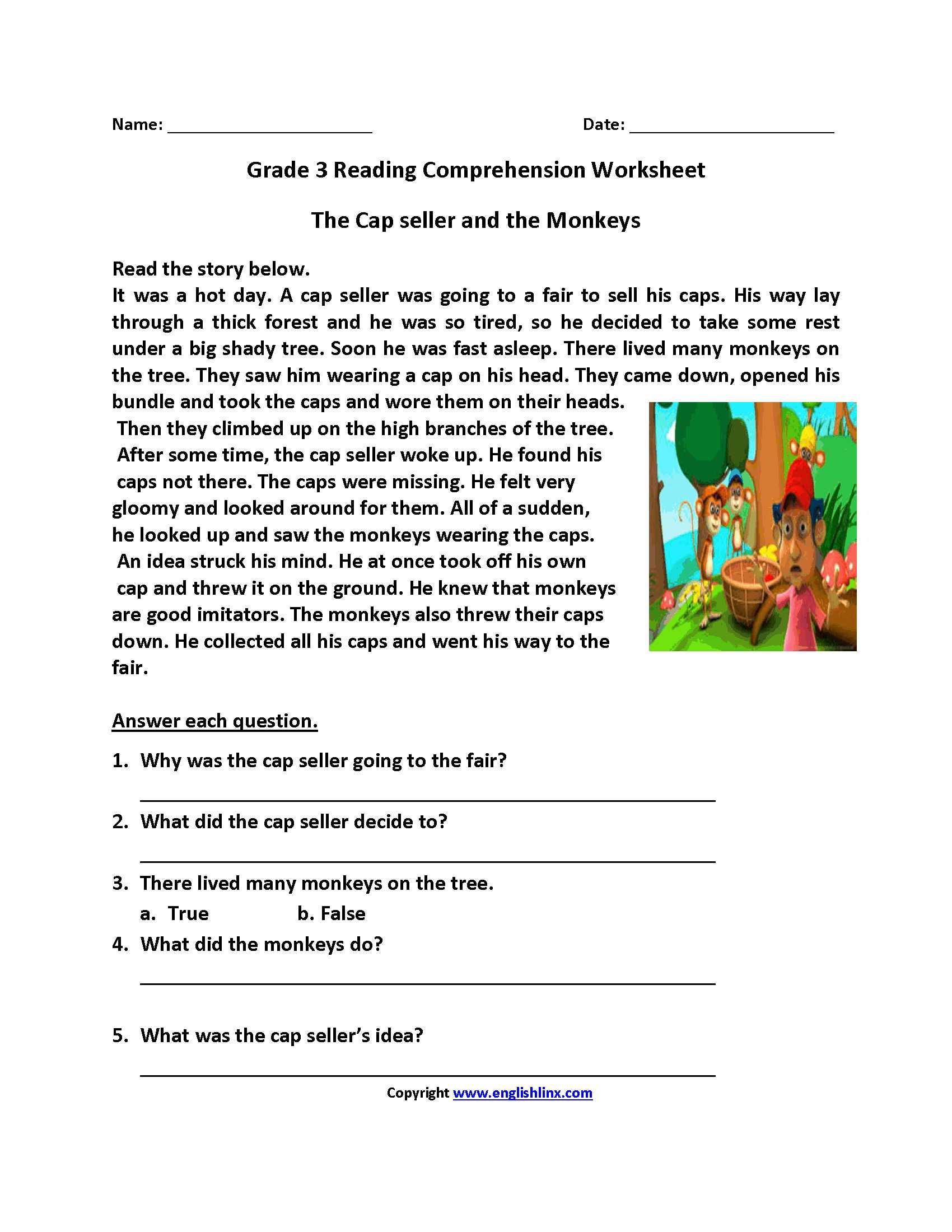 4th Grade Reading Comprehension Worksheets Multiple Choice as Well as Cap Seller and Monkeys Third Grade Reading Worksheets