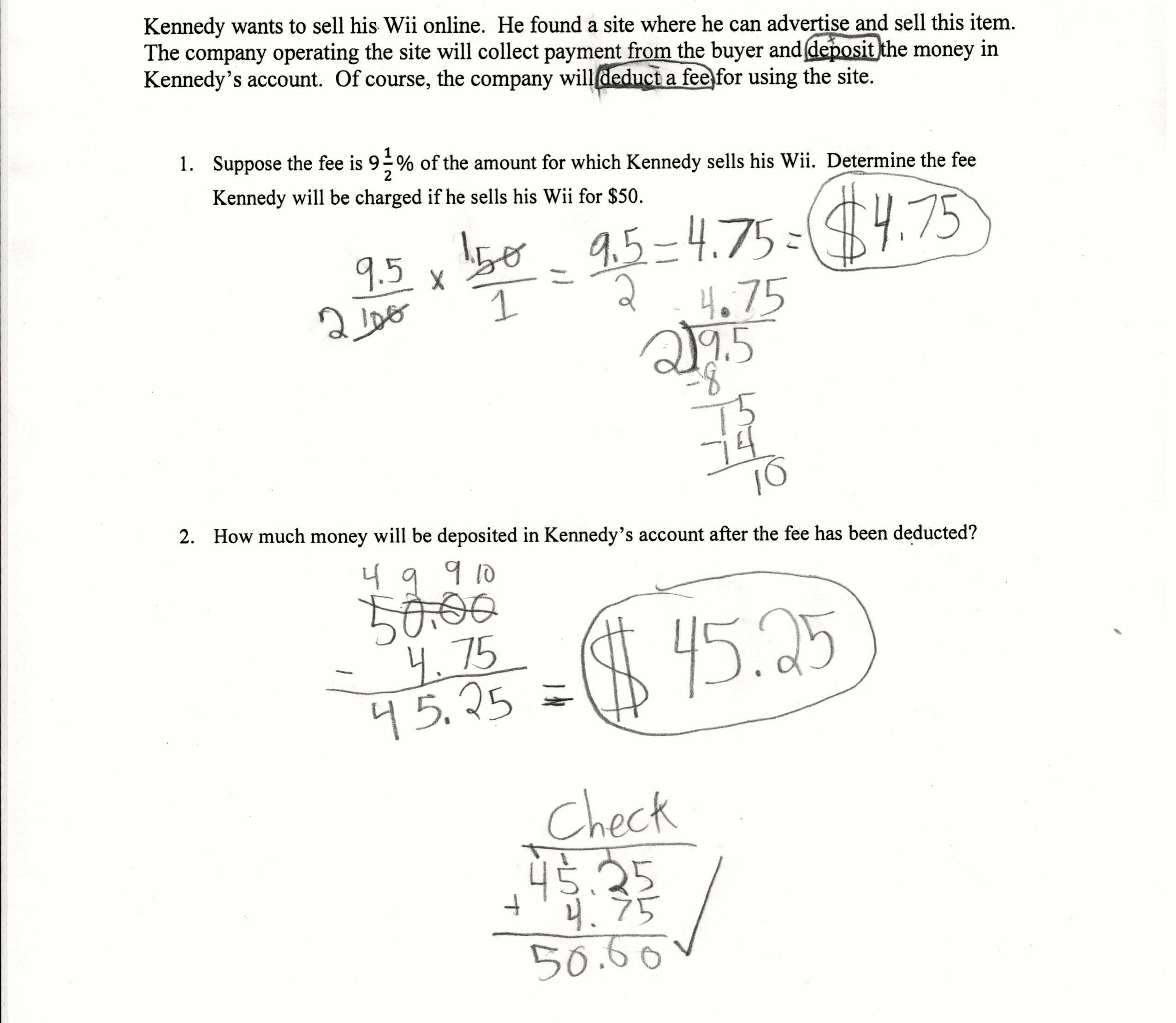7th Grade Proportions Worksheet Along with Finding Fees Students are asked to Plete A Multi Step Percent