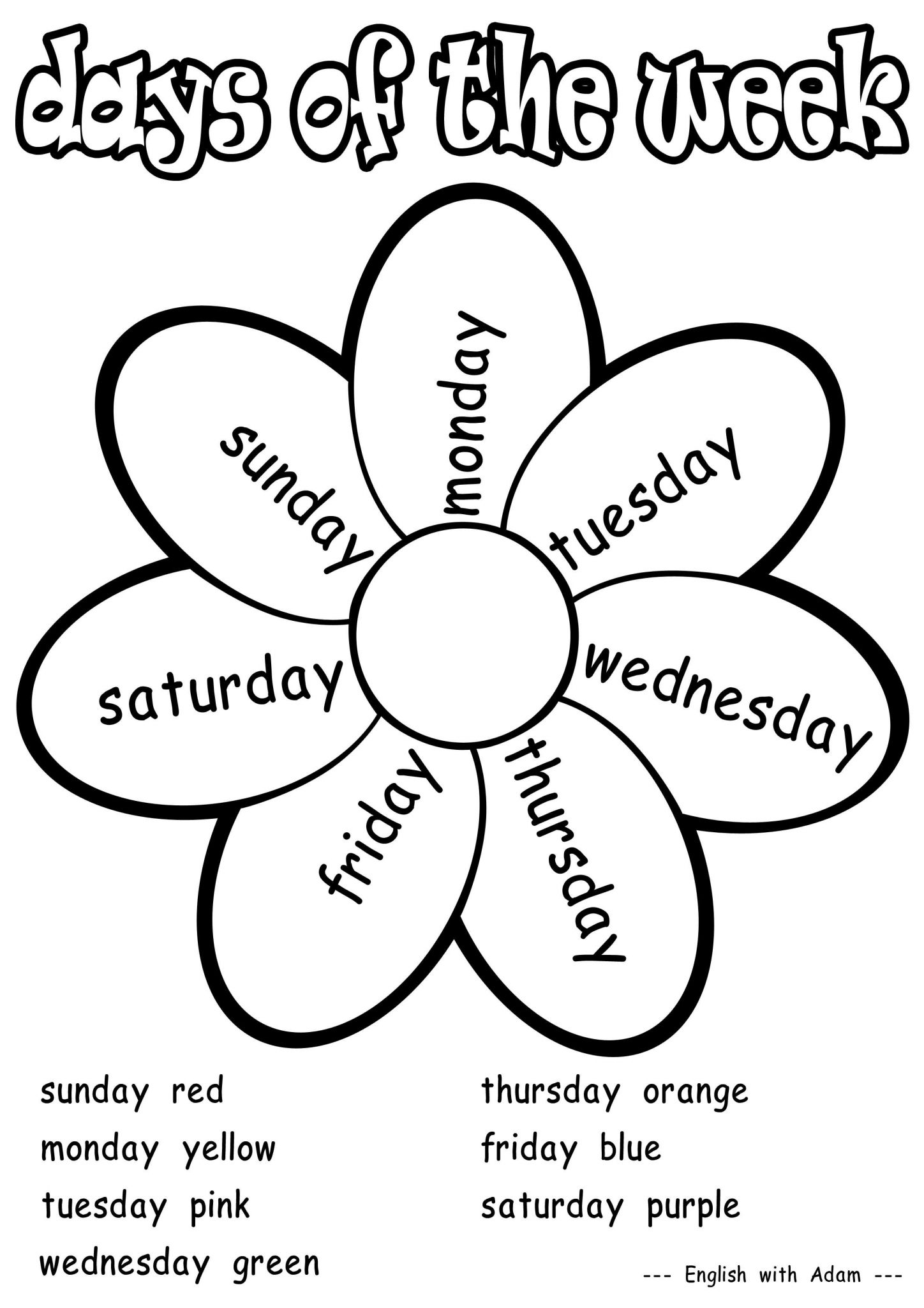 Activity Worksheets for Kids with Days Of the Week Coloring Activity Grade 1 Worksheets
