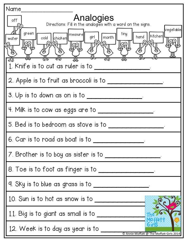 Analogy Worksheets for Middle School or Analogies Fill In An Analogy with the Given Words so Many Fun