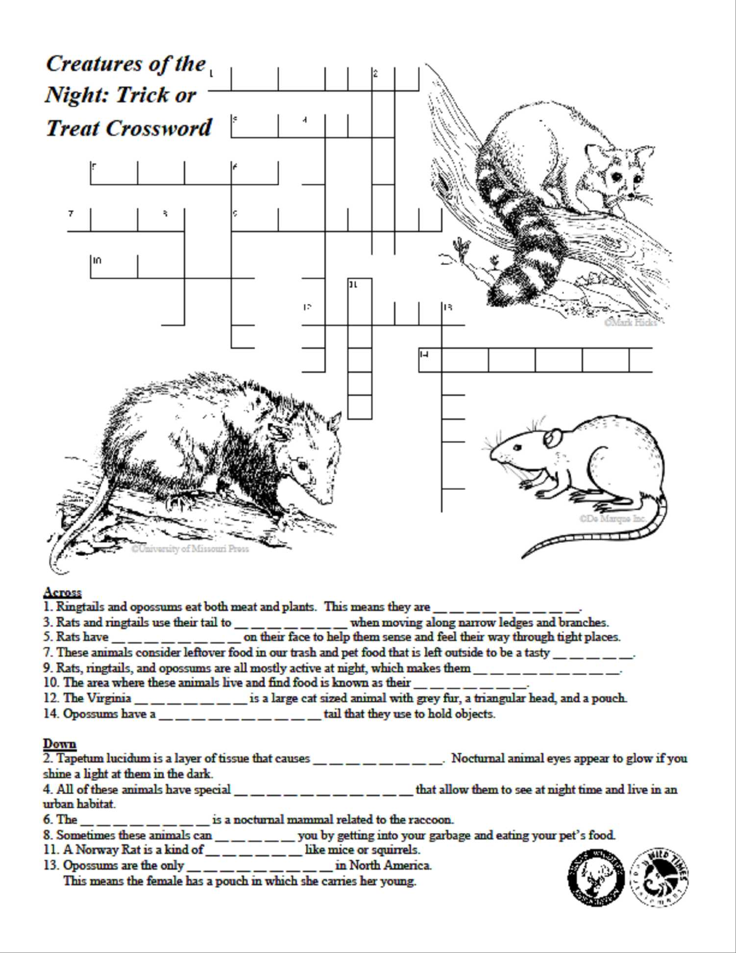 Animal Adaptations Worksheets together with Creatures Of the Night Crossword Puzzle Texas Wildlife association