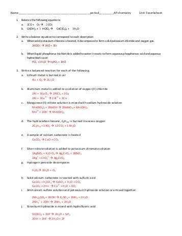 Ap Chem solutions Worksheet Answers or Ap Unit 1 Worksheet Answers Jensen Chemistry