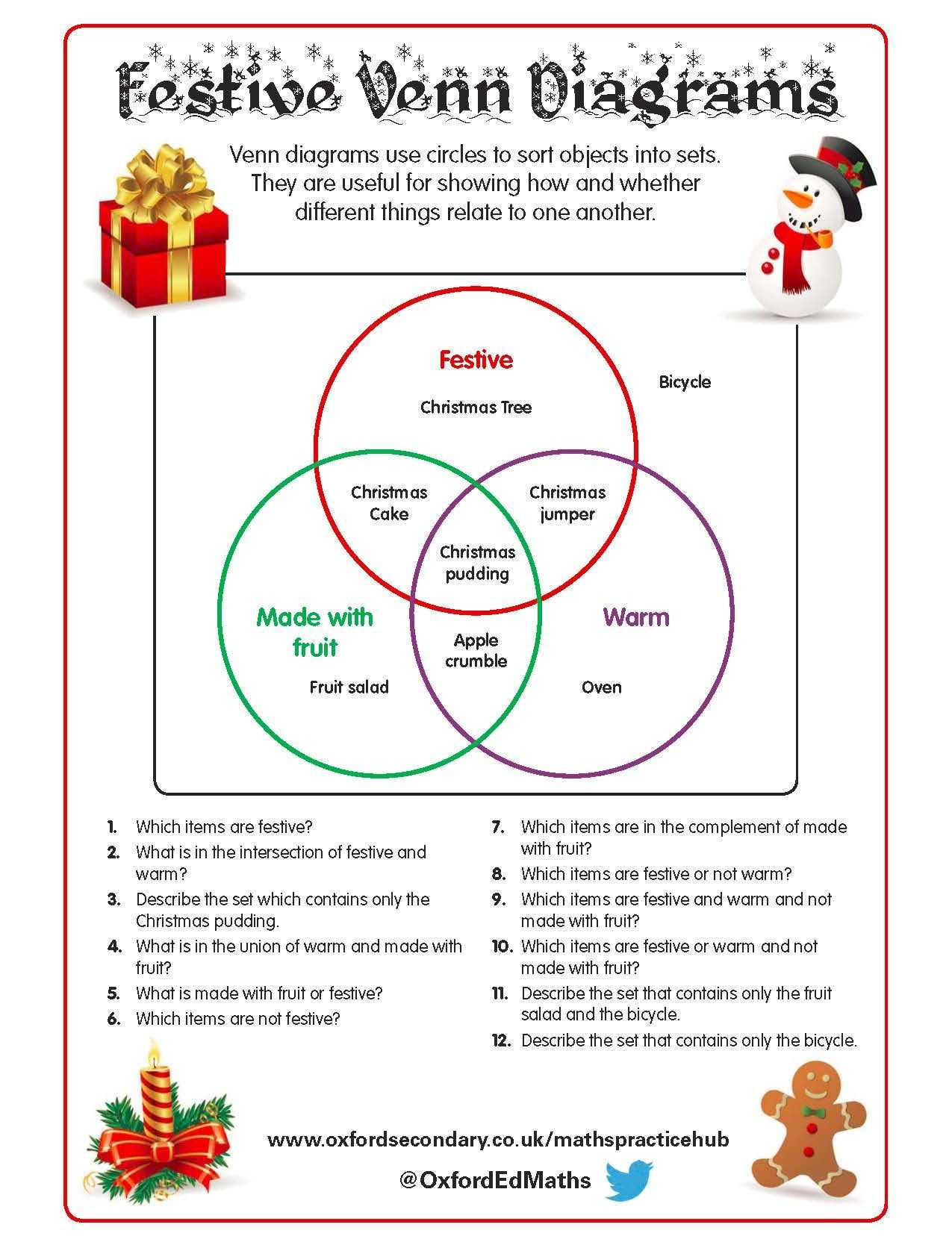 Arithmetic Sequence Worksheet together with This Christmas themed Worksheet Features Venn Diagrams with Fun