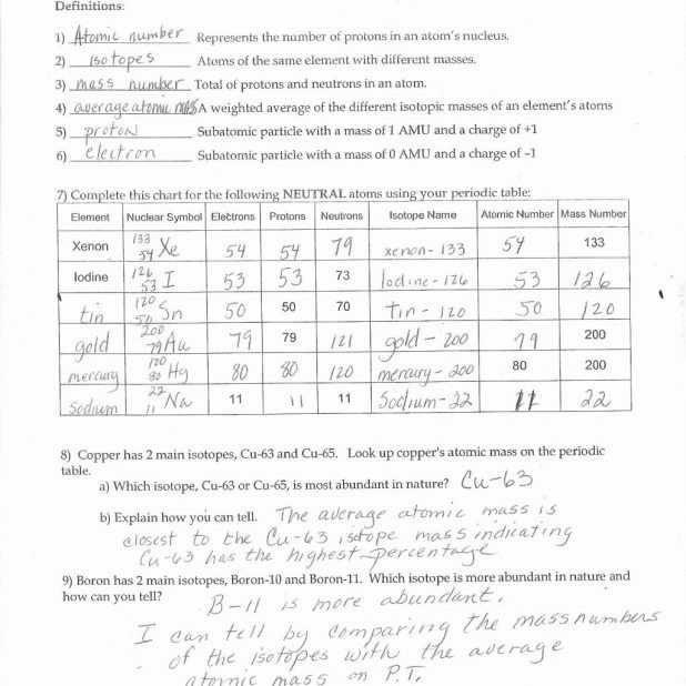 Atomic Structure Review Worksheet Answer Key with atomic Structure Worksheet Answers