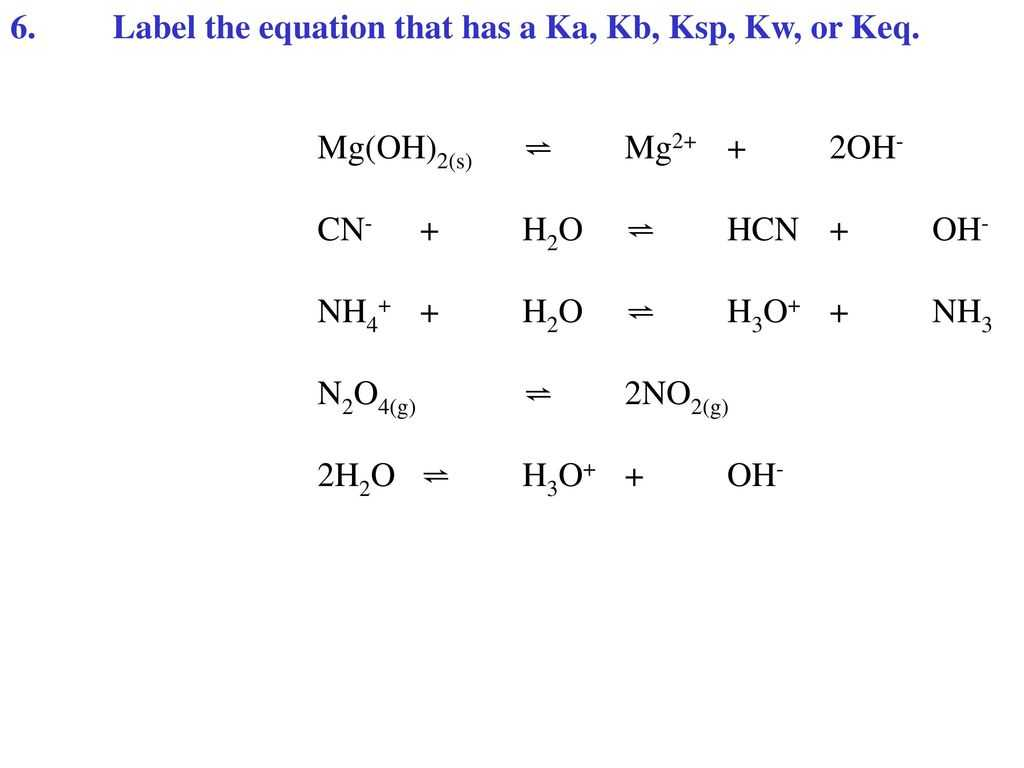 Balancing Chemical Equations Practice Worksheet with Ka and Kb Equations Bing Images