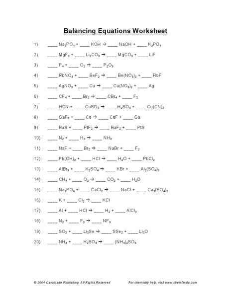 Balancing Chemical Equations Worksheet 1 with Balancing Chemical Equations Worksheet Answers Printables Balancing