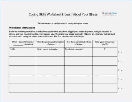 Basic Life Skills Worksheets and Coping Skills Worksheets Pdf aslitherair