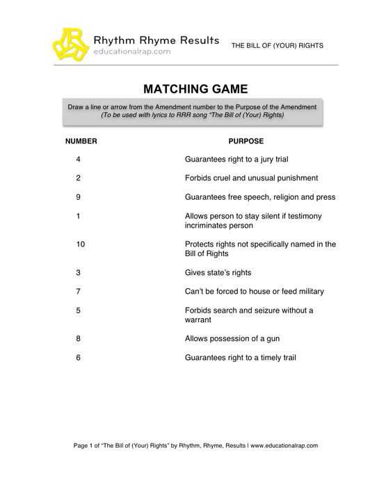 Bill Of Rights Scenario Worksheet Answers Also Bill Of Your Rights song with Free Worksheets and Activities