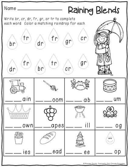 Blends and Digraphs Worksheets and Printables January Print and Do Winter No Prep Math and Literacy