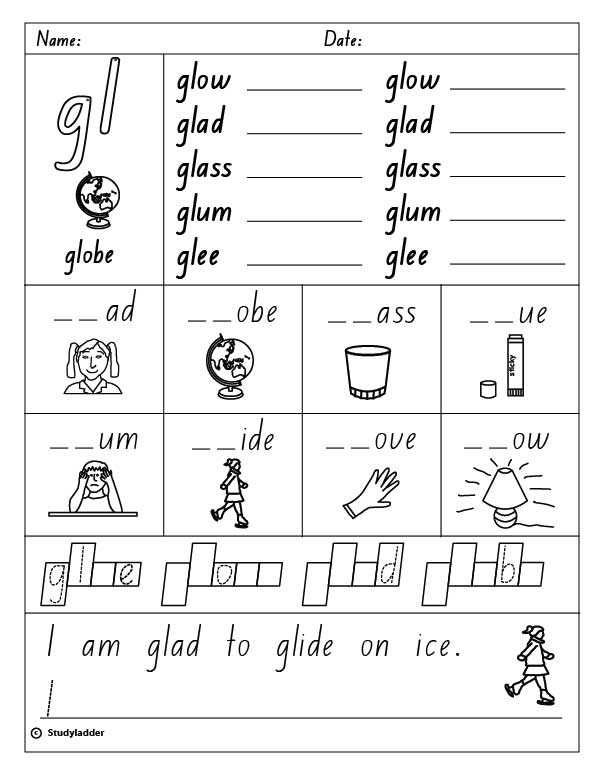 "Blends and Digraphs Worksheets together with Consonant Blend ""gl"" English Skills Online Interactive Activity"